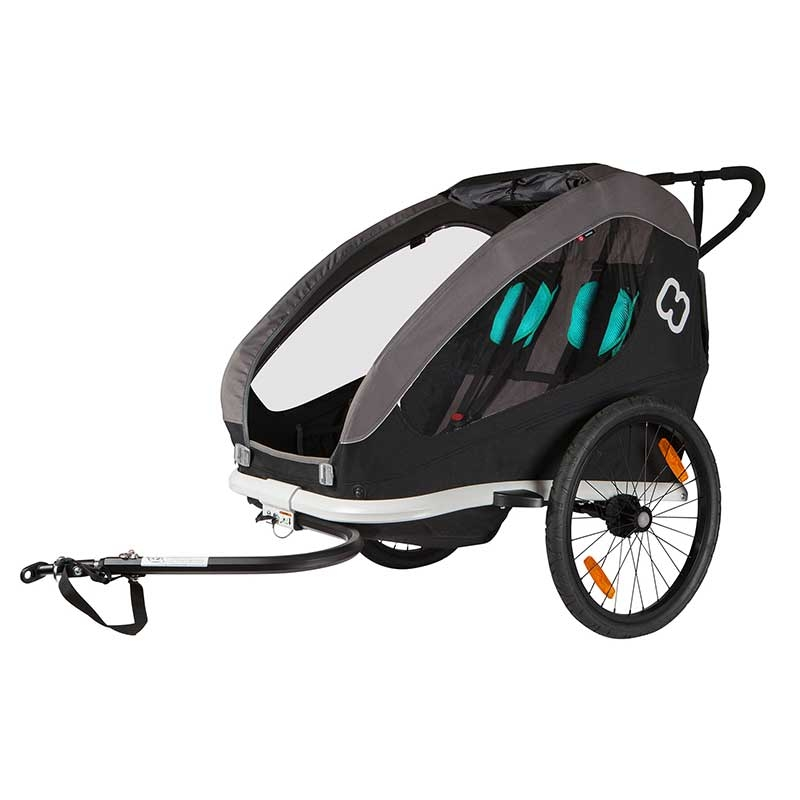 Hamax jalgratta järelkäru ja lapsevanker TRAVELLER, 2 istet, hall/must