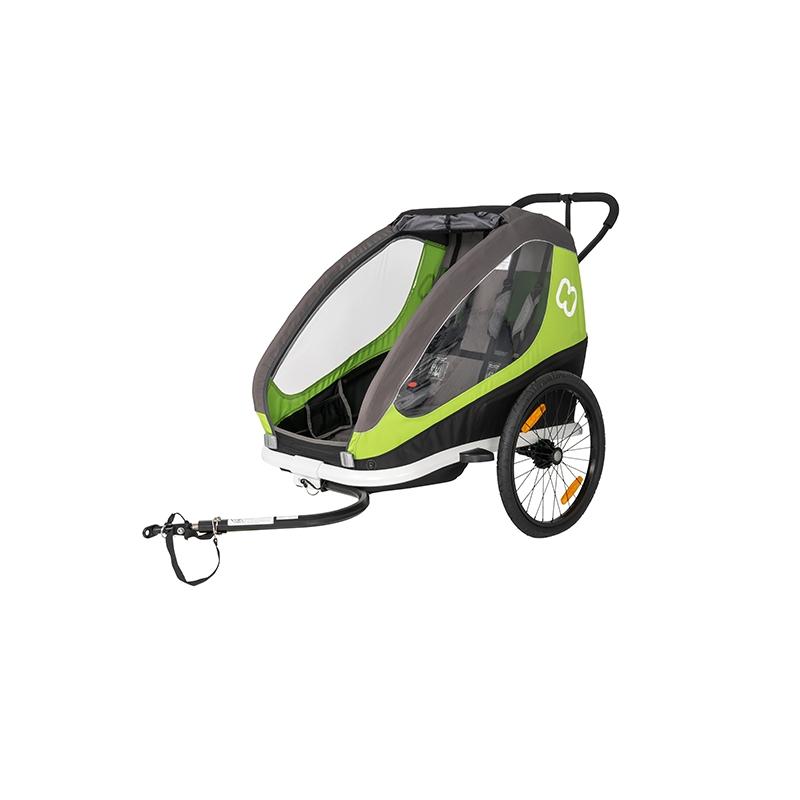 Hamax jalgratta järelkäru ja lapsevanker TRAVELLER, 2 istet, hall/roheline