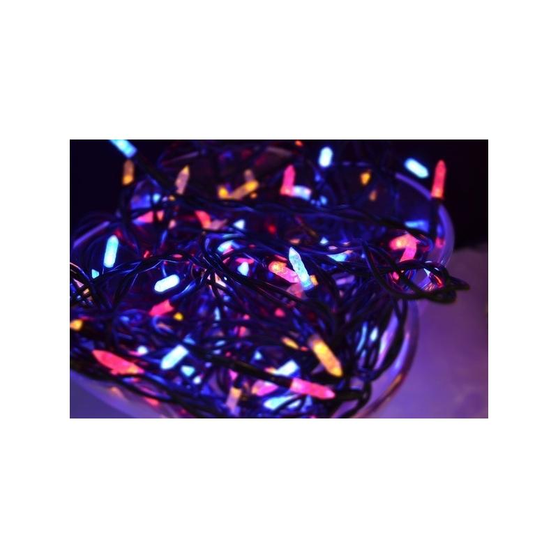 100 LED tulega kett, multi (pun., koll., sin.), pikk küünlakujuline pirn, tulede vahe 10cm /24