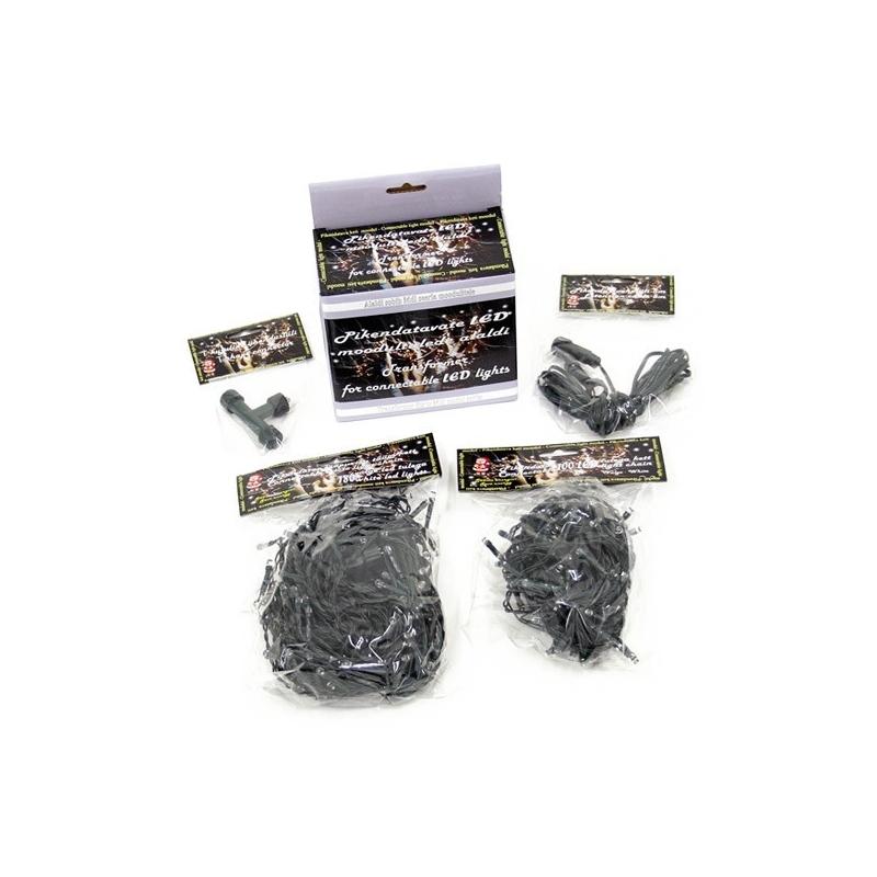 Moodul - 100 külm-valge LED tulega kett, pikendatav, keti mõlemas otsas ühenduslüli, puudub alaldi /24