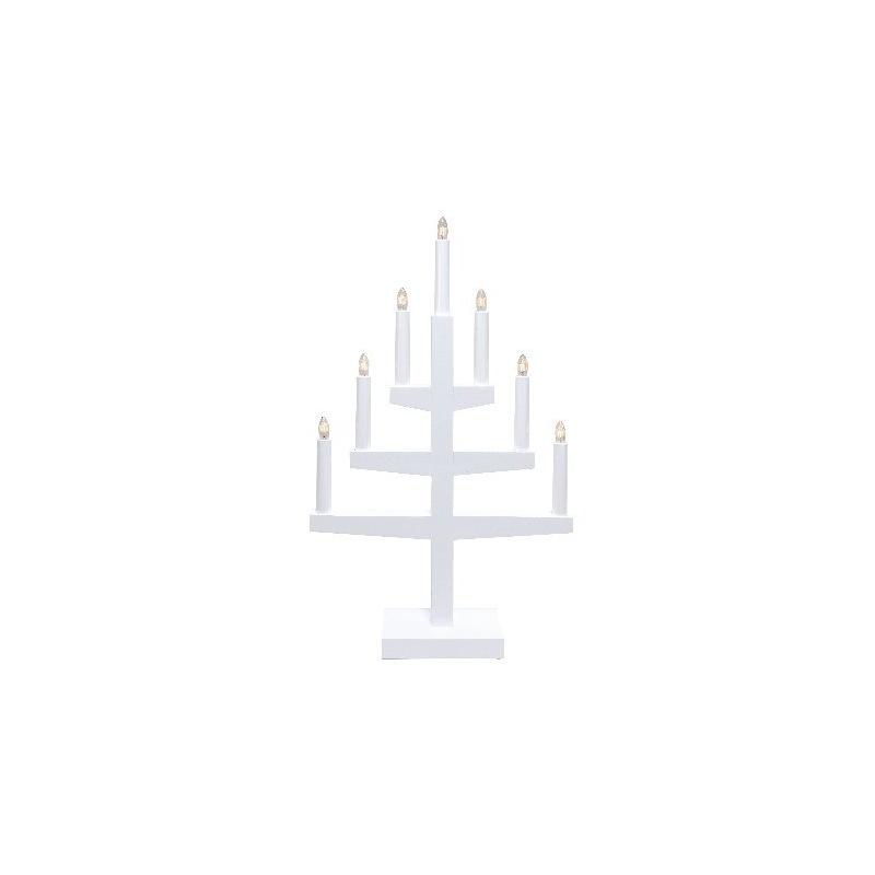 Küünlajalg Trapp puidust, valge 34x53x9cm, 7 tuld, 230V, E10, IP20