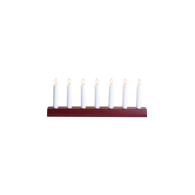 Adv. küünlajalg IDA, punane 39x15x5cm, 7 tulega, E10, 230V, IP20