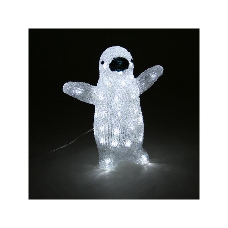 Akrüül Pingviin, 40 valge LED tulega /4 29*16*31cm