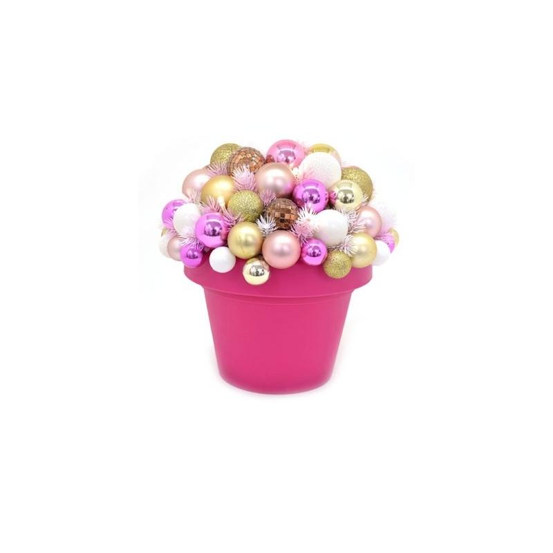 Jõulu deco Flashy, kõrgus 35 cm, 10 LED tulega valge/roosa /6