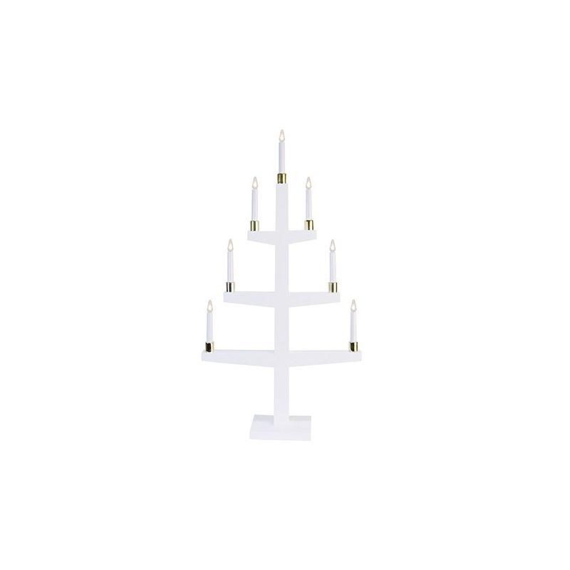 Küünlajalg Halla valge, 47x90x14cm, 7 LED-tuld, puidust, E10, 230V, IP20