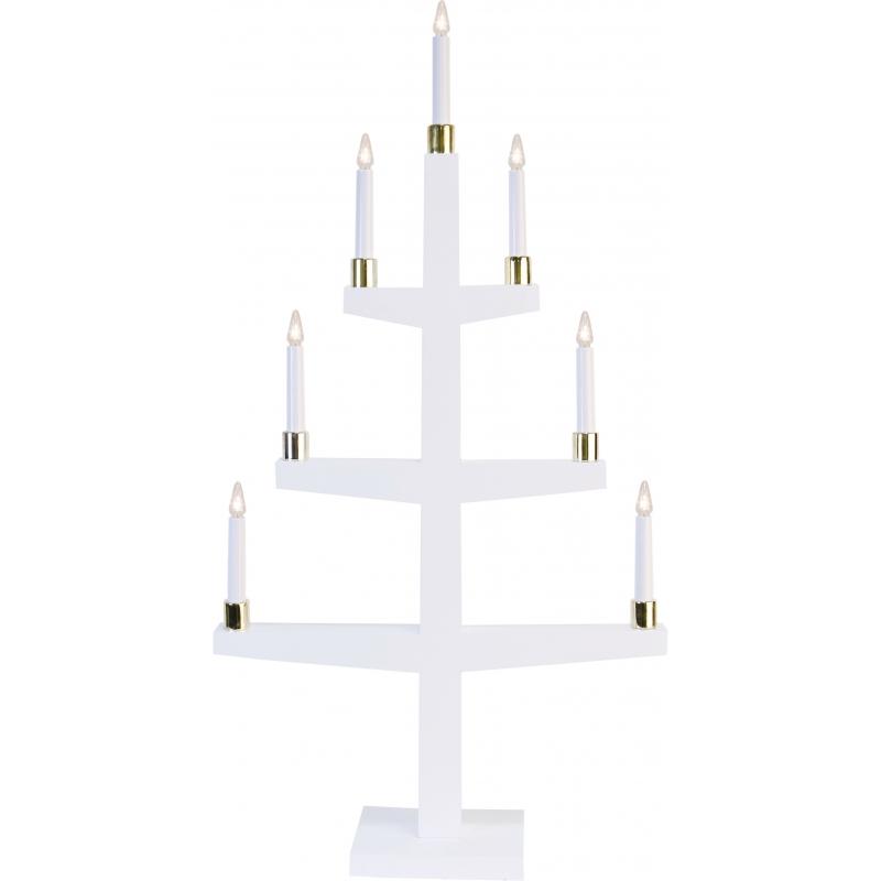 Küünlajalg Tall, 61x110x15cm, 9 LED-tuld, puidust, valge, E10, 230V, IP20