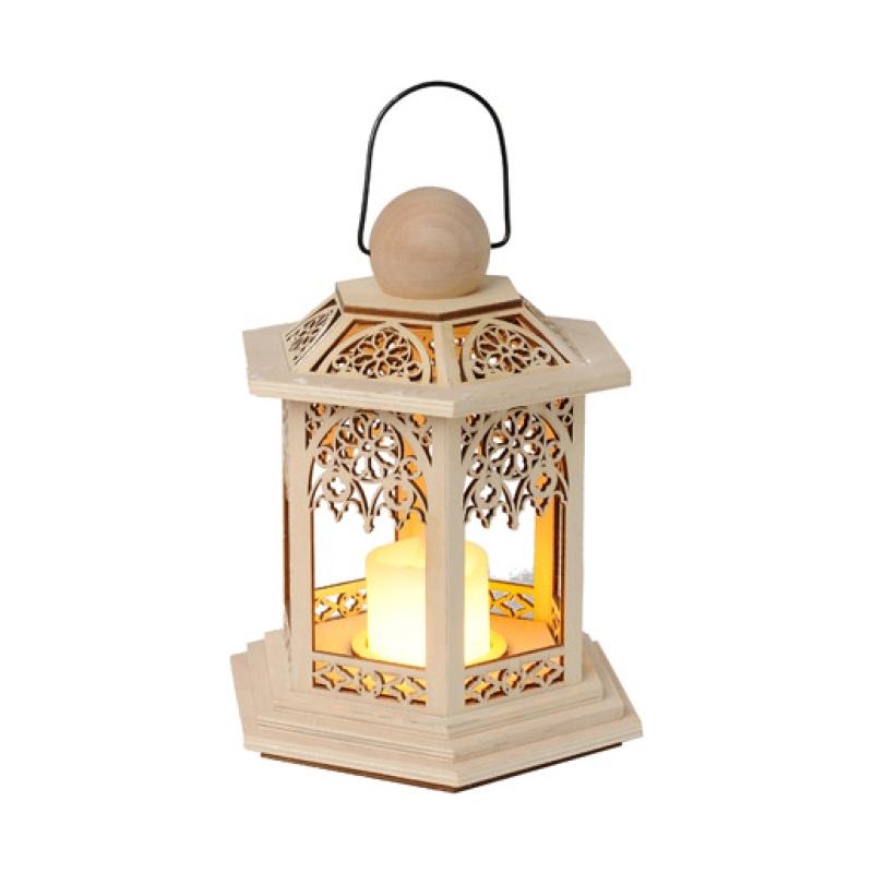 Latern puidust, vahast soe-valge LEDküünal 15000h