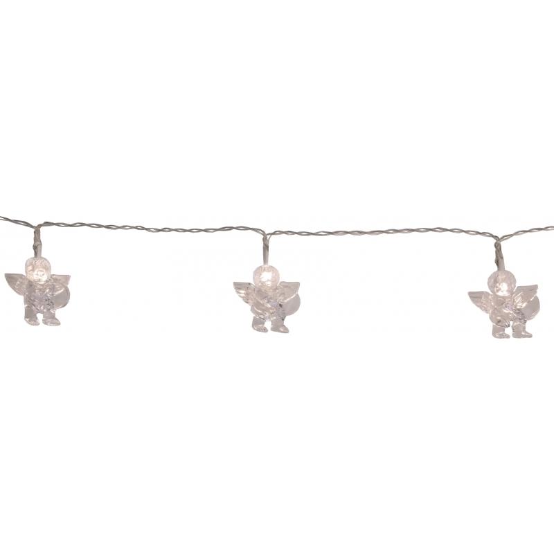 Valguskett inglitega 10 LED, 1,35m, tulede vahe 15cm, taimer (6+18h tsükkel), patareitoide (3xAA, mitte kaasas), IP20