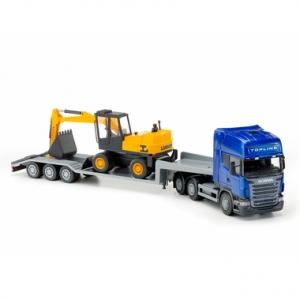 Scania treilerauto 70cm ja ekskavaator 30cm