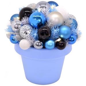 Jõulu deco Flashy, kõrgus 25 cm, 10 LED tulega, sinine/valge/hõbe /6