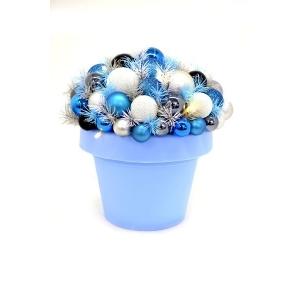 Jõulu deco Flashy, kõrgus 35 cm, 10 LED tulega sinine/valge/hõbe /6