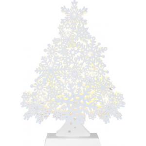 Kuusk Valge, 23x32cm, laserlõikega puidust, 8 LED, patereitoide (3xAA, mitte kaasas), IP20
