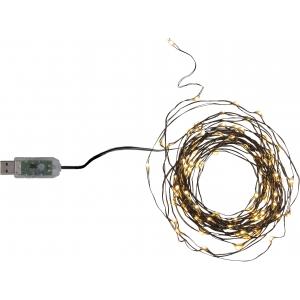 """USB Valguskett """"Kastetilgad"""" . 100 LED tuld, soe valge, must kaabel.Pikkus 5m, toitejuhe 1m,-pinge 5V DC"""