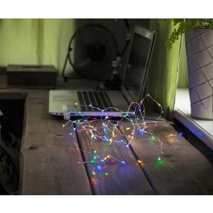 """USB Valguskett """"Kastetilgad"""" . 100 LED tuld, värviline, läbipaistev kaabel.Pikkus 5m, toitejuhe 1m,-pinge 5V DC"""