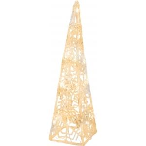 Valguspüramiid Crystaline, 24 sooja valget LED tuld, mõõdud 11x45x11cm IP20
