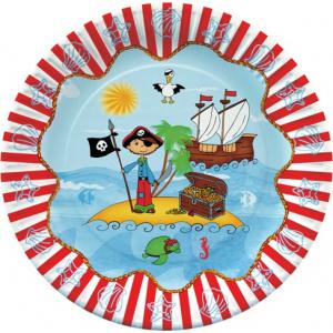 Piraatide Saar Papptaldrikud 10tk. 23cm,