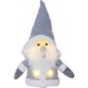Päkapikk hallis. H 24cm. 4 soe-valget LED tuld, pat.toide 3xAAA (ei kuulu kompl.), 1000h, IP20