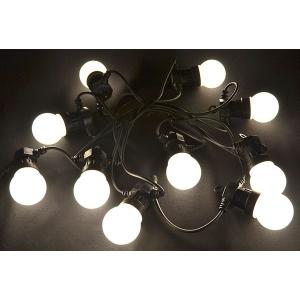 Valguskaabel 10 suure LED lambiga, pikendatav, matt-valge IP44 24V