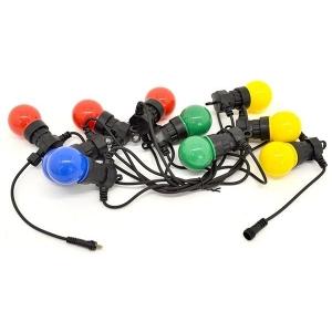 Valguskaabel 10 suure LED lambiga, pikendatav, matt-värviline IP44 24V