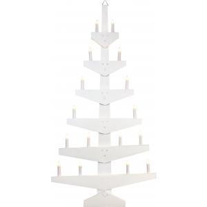 Seinakuusk, valge puidust, 59,5x113,5x5cm, 16x E10 küünalt, 230V, IP44