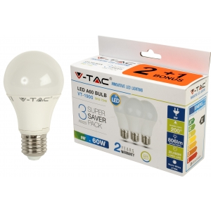 LED lamp 3-pakk, E27/9W/806lm