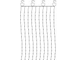 """Valguskardin """"Kastetilgad"""" 200 LED valge tuld, 10 riba, mõõdud 1X2m, sisetingimustesse IP21"""