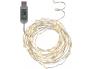 "USB Valguskett ""Kastetilgad"" . 100 LED tuld, külm valge, hõbedane. Pikkus 5m, toitejuhe 1m, -pinge 5V DC"